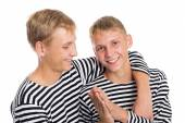 Portrait of cheerful two twin brothers — Stockfoto