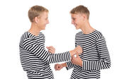 Twin brothers playing a joke  — Foto Stock