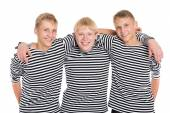 Smiling boys in striped shirt isolated on white  — Foto Stock