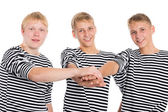 Young men in friendship joined his hands — Foto Stock
