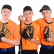 Young baseball players with gloves and bat — Stockfoto #58230395