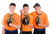 Young baseball players with gloves and bat — Стоковое фото