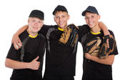 Young baseball players isolated on white  — Стоковое фото