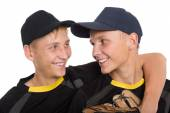 Close-up portrait of brothers baseball players — Стоковое фото