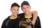 Young twin brothers holding each other  — Стоковое фото
