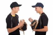 Cute twin brothers - young baseball players — Foto Stock