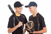 Twin brothers guys in the form of a baseball game — Foto Stock