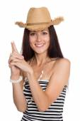 Young woman pointing fingers hands up — Stock Photo