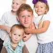 Younger brothers and sister with big brother — Stock Photo #62332717