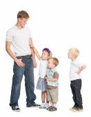 Elder brother and younger sister and brothers — Stock Photo