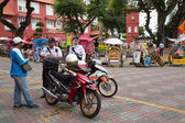 Police on the Dutch square in Malacca, Malasia — Fotografia Stock