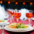 Served banquet table with glasses — Stock Photo #75073821