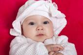 Cute baby girl with a hat — Stockfoto