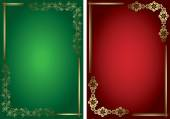 Red and green vector cards with golden frames — Stock Vector