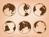 Brown globes with continents - vector set of Earth — Stock Vector