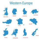 Western europe - vector maps of territories — Stock Vector