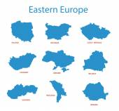 Eastern europe - vector maps of territories — Stock Vector