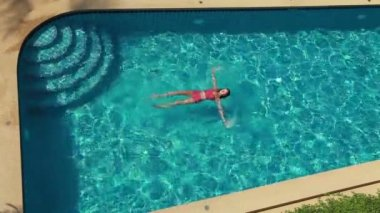Woman In Blue Pool. Top View — Stock Video