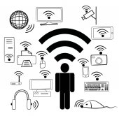 Wi Fi devices and people — ストックベクタ