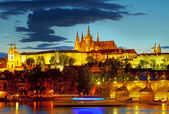 Lights of Prague Castle. Czech republic. HDR — Stock Photo