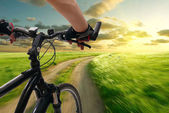 Man with bicycle riding country road — Stockfoto