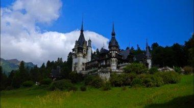 Pelesh castle, Romania. Timelapse — Stock Video