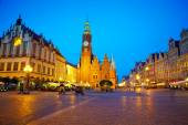 The market square at night time. Wroclaw, Poland. — Stock Photo