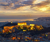 Athens, Greece. After sunset. Parthenon and Herodium constructio — Stock Photo