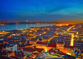 Cityscape of Lisbon in Portugal after sunset — Foto Stock