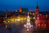 Christmas decorations in Warsaw, Poland. — Stock Photo