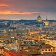 Wonderful view of Rome at sunset time with St Peter Cathedral — Stock Photo #67218053