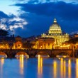 Basilica St. Peter in Rome, Italy. Night view after sunset — Stock Photo #68900279