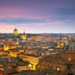 Wonderful view of Rome at sunset time with St Peter Cathedral — Stock Photo #71160171