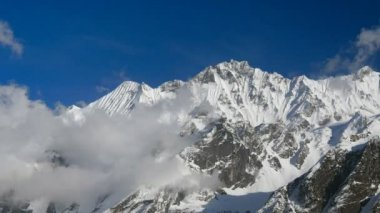 Timelapse of snowy mountains. Nepal, Himalayas — Stock Video