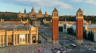 Time-lapse of Placa De Espanya (Square of Spain). Barcelona, Spain — Stock Video
