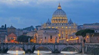 St. Peter's Basilica, Ponte Sant Angelo Bridge, Vatican. Rome, Italy. Time lapse — Stock Video