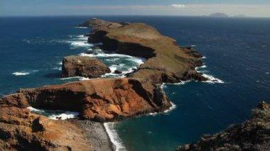 Landscape at the north coast of Ponta de Sao Lourenco. Madeira Island, Portugal — ストックビデオ