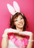 Sexy Woman with Bunny Ears. Playboy Blonde. — Stock Photo