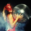 Lady in mask with disco ball — Stock Photo #52826169