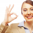 Happy smiling business woman with okay gesture — Stock Photo #53949855