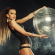 Dancer girl in smoke with disco ball — Stock Photo #53949907