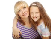 Little girl with her happy mom isolated on white — Stock Photo