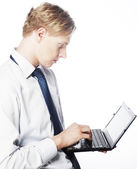 Young businessman use laptop — Stock Photo