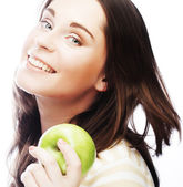 Portrait of young woman with green apple — Stock Photo