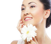 Fresh health asian woman with white gerber — Stock Photo