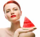 Beautiful young woman with  water melon — Stock Photo