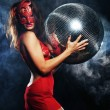 Lady in mask with disco ball — Stock Photo #64963173