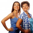 Mother and adult daughter looking up — Stock Photo #68323935