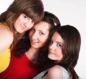 Retrato de tres amigas sonrientes — Foto de Stock