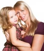 Беременная женщина с дочерью — Стоковое фото